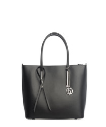 Black smooth leather shopper
