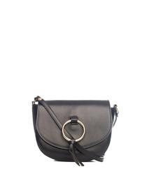 Black leather ring & tassel crossbody