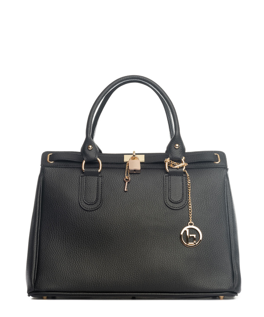 Black leather padlock shopper Sale - lia biassoni