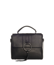 Black leather ring & tassel crossbody