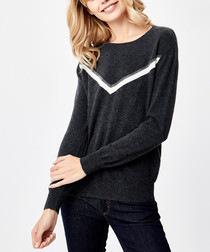 Graphite pure cashmere chevron jumper
