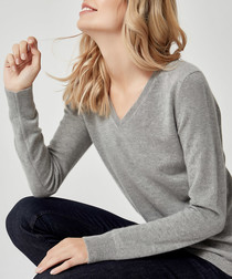 Grey pure cashmere V-neck jumper