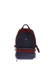 Navy & maroon nylon backpack