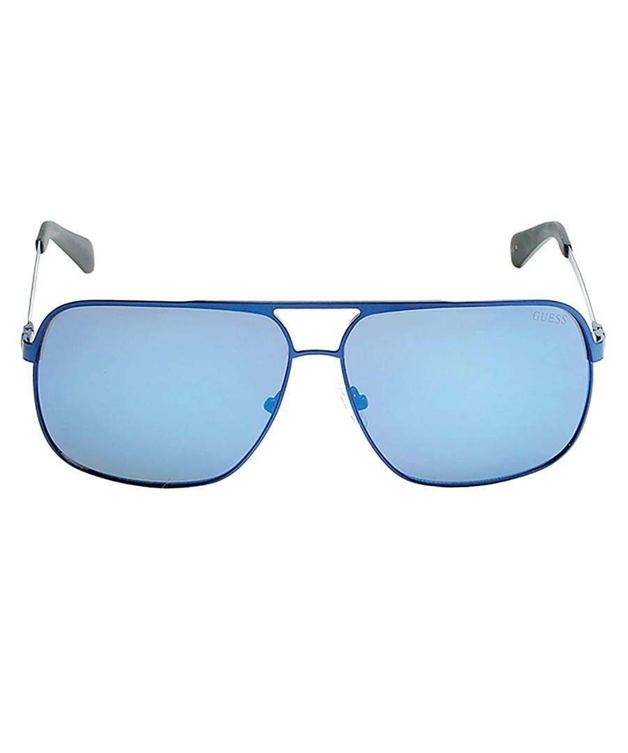 Matte blue mirror lens sunglasses Sale - guess