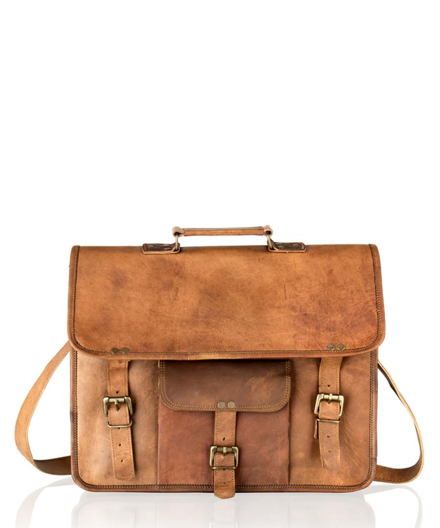 Tan vintage style leather satchel Sale - woodland leather