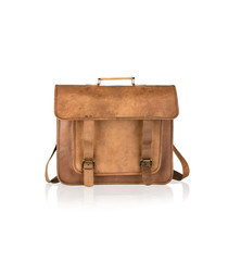 Tan distressed leather satchel