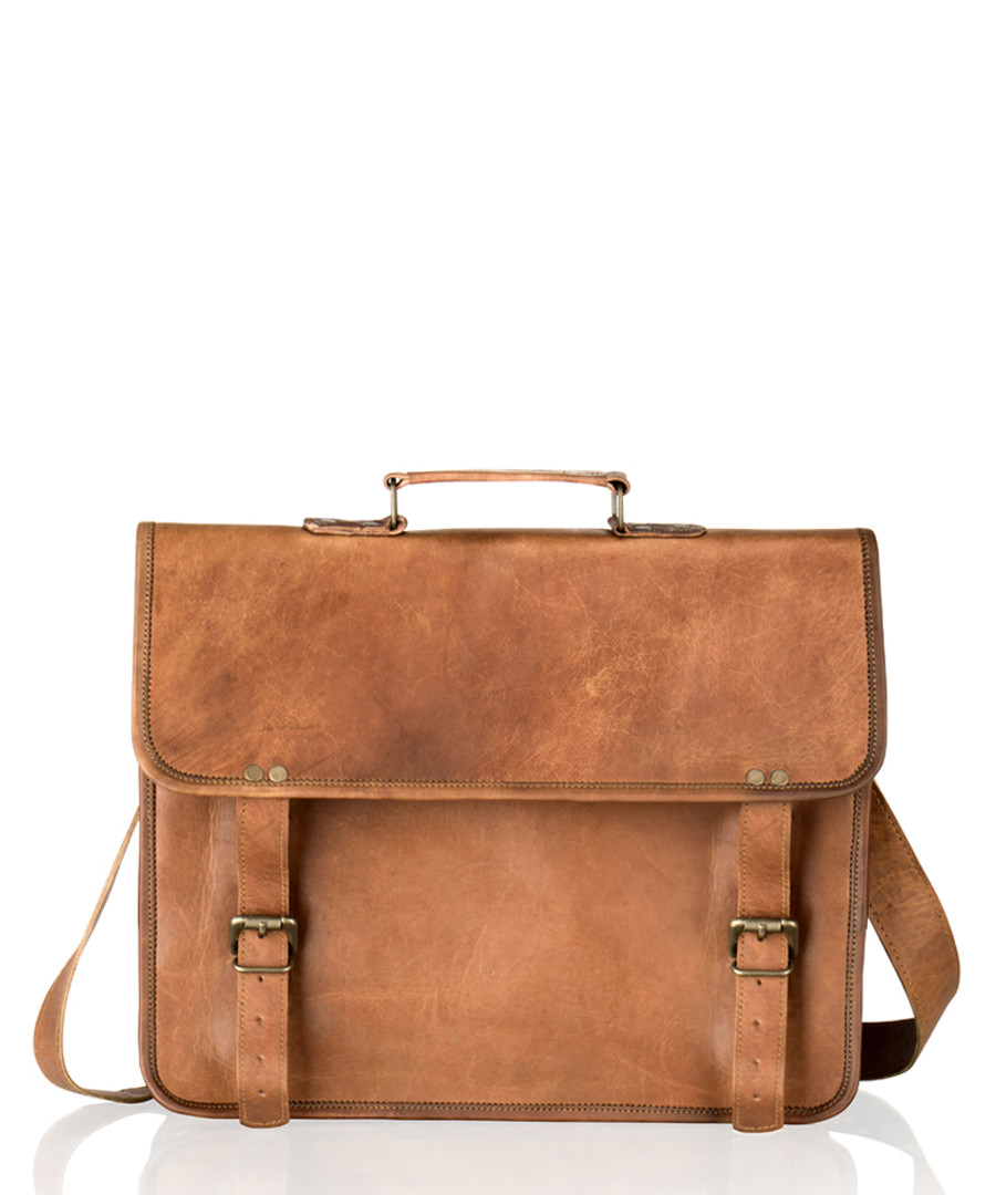 Tan distressed leather satchel Sale - woodland leather