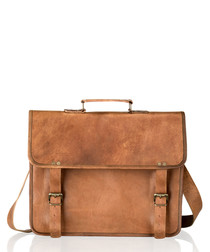 Tan vintage style leather satchel