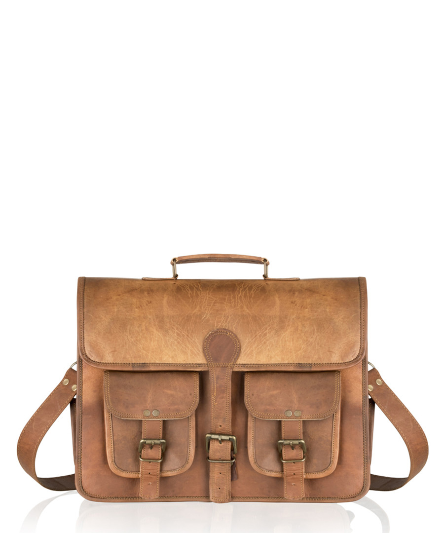 Tan distressed leather pocket satchel Sale - woodland leather