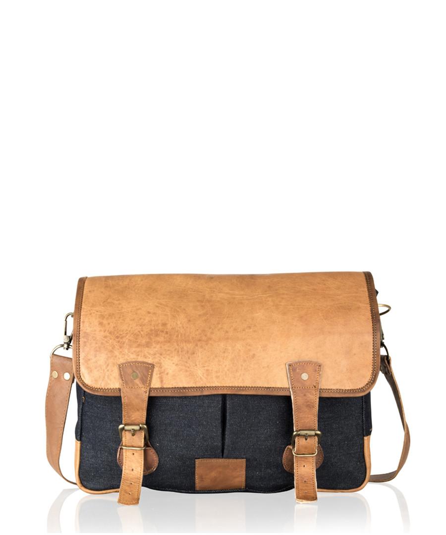 Denim & tan vintage leather satchel Sale - woodland leather