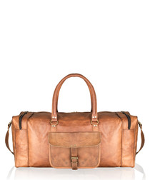 Tan distressed leather weekend bag