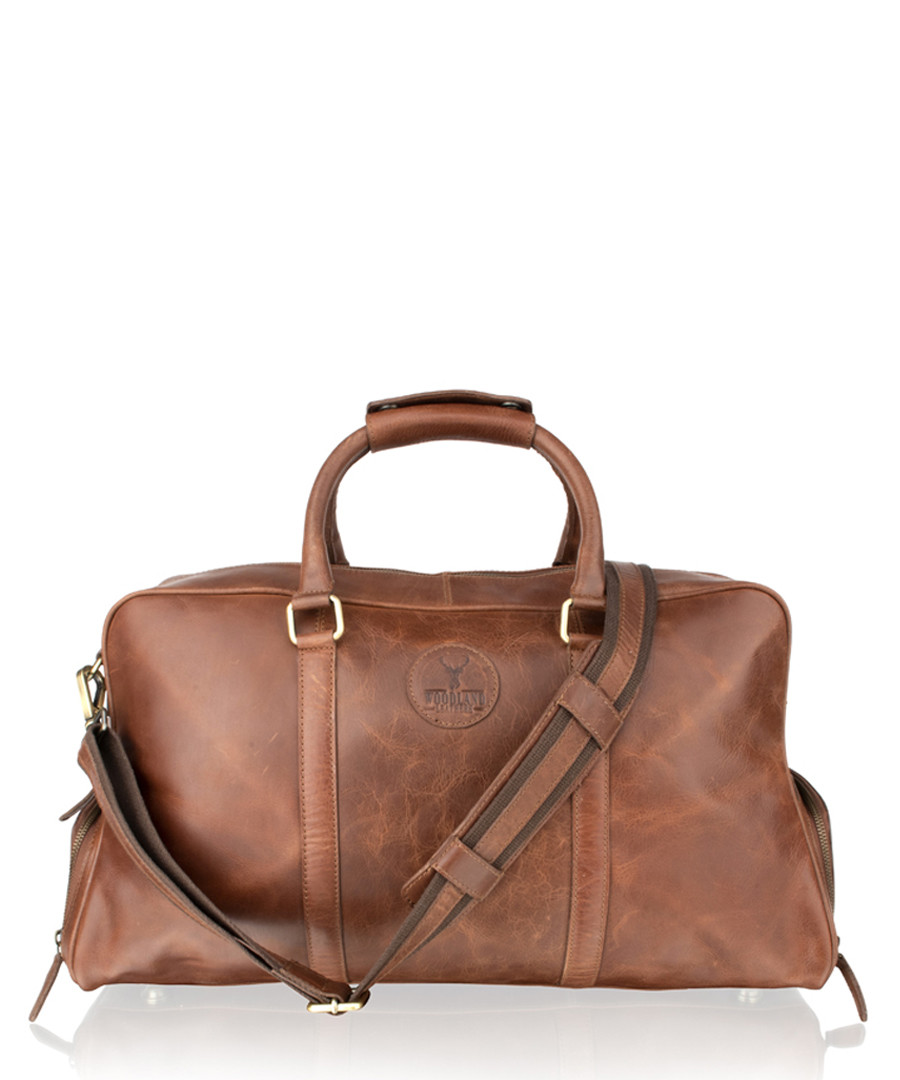 Tan leather weekend bag Sale - woodland leather