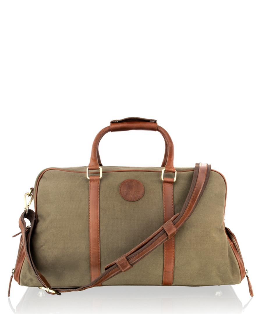 Khaki & tan leather weekend bag Sale - woodland leather