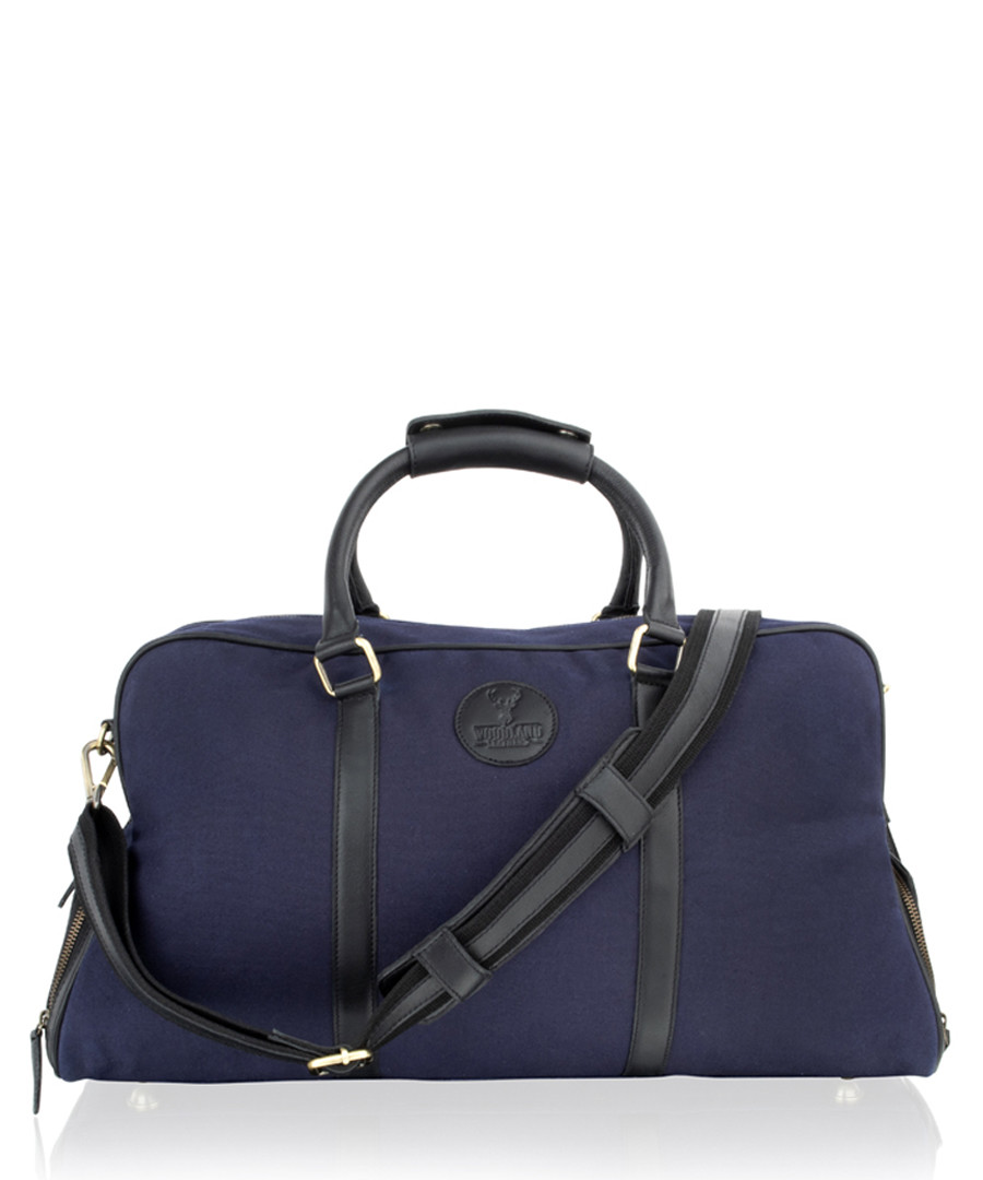 Black & blue leather weekend bag Sale - woodland leather