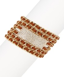 Brown leather multi-chain bracelet