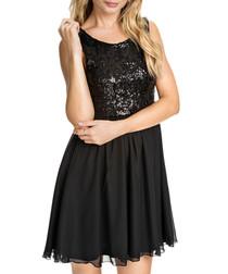 Black sequin flare skirt mini dress