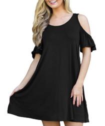 Black cold-shoulder shift dress