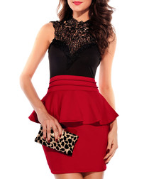 Black & red peplum mini dress