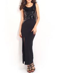 Black patent leather-effect maxi dress