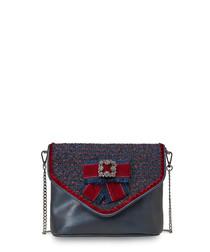 Duchess blue & red crystal brooch bag