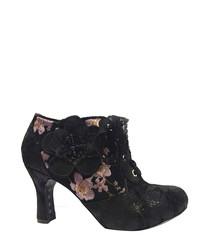 Hermione black floral lace heels