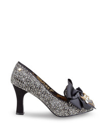 Regal monochrome embellished bow heels
