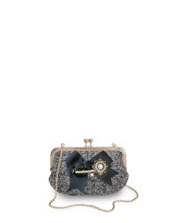 Regal monochrome embellished bow bag