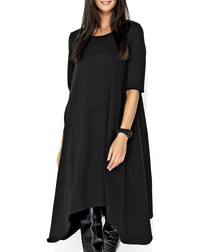 Black cotton blend drape dress