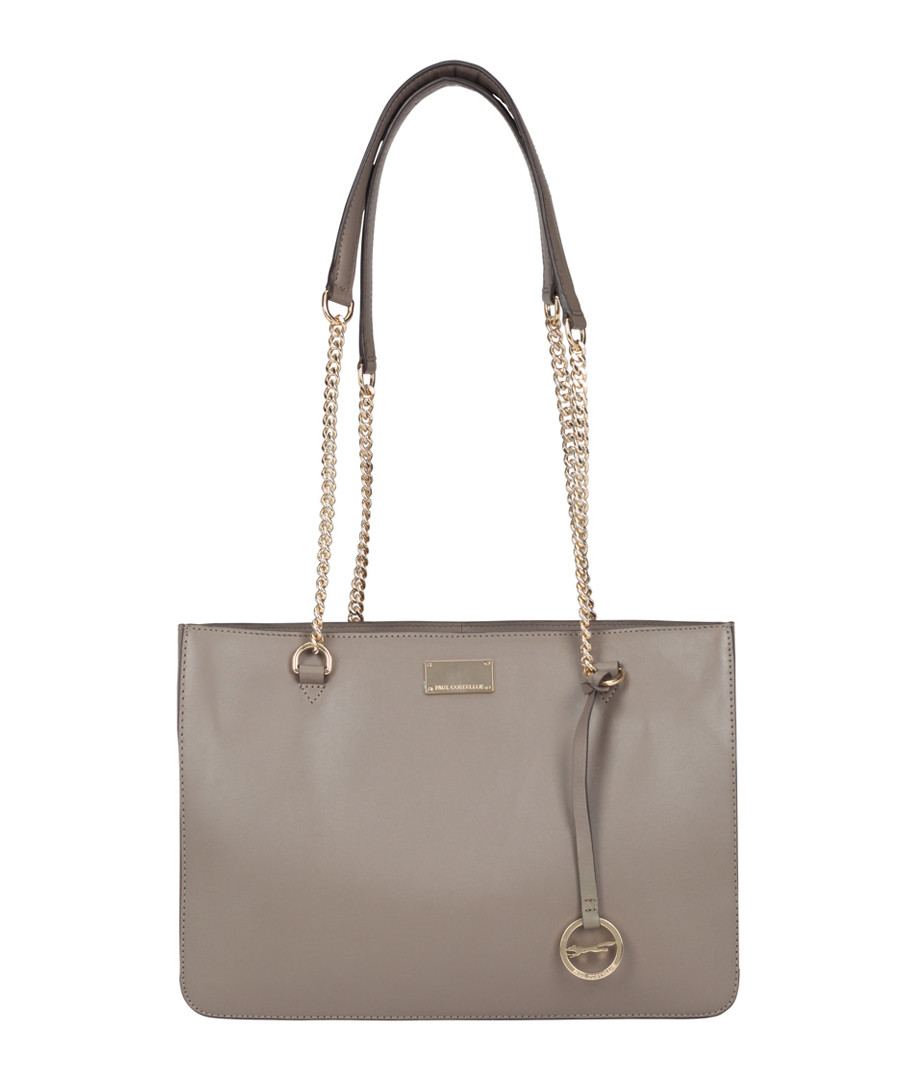 The Cannes taupe leather shoulder bag Sale - paul costelloe