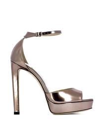 Pattie gold-tone leather peep-toe heels