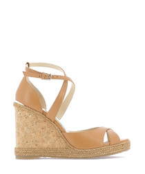 Alanah tan leather cork wedges