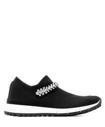Verona black knit slip-on sneakers