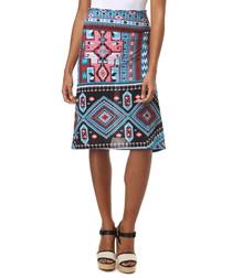 Multi-colour silk blend Aztec skirt