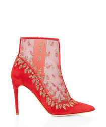 Rosque red suede & mesh ankle boots