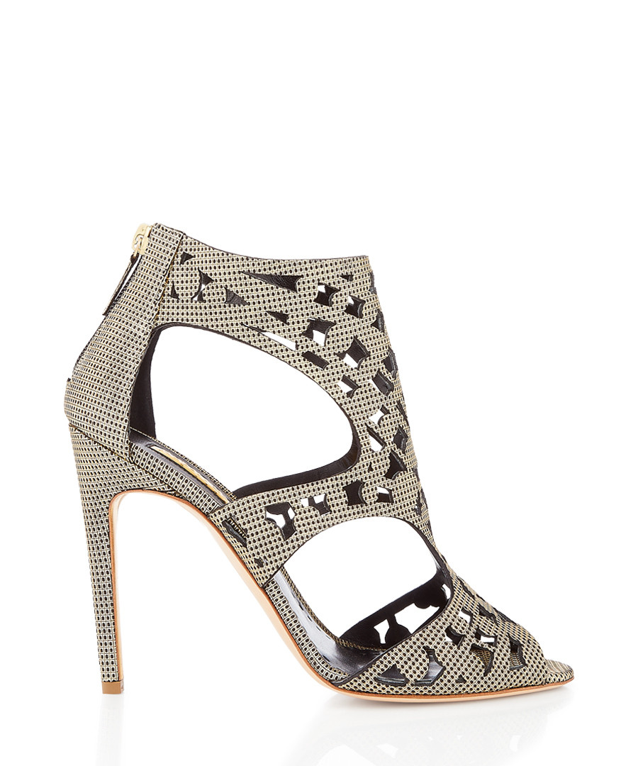 Disc gold-tone cut-out heel sandals Sale - Rupert Sanderson