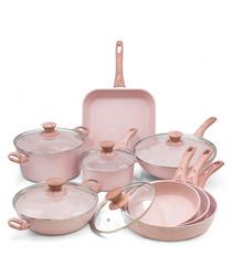 13pc Rose wood aluminium pan & lid set