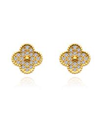 18K gold-plated crystal clover earrings
