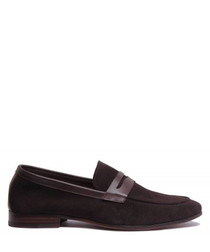 Chocolate suede soft bar loafers