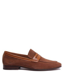 Brown suede soft bar loafers
