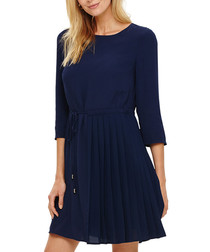 Michelle indigo pleated mini dress