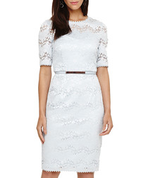 Gerda pale blue belted lace dress