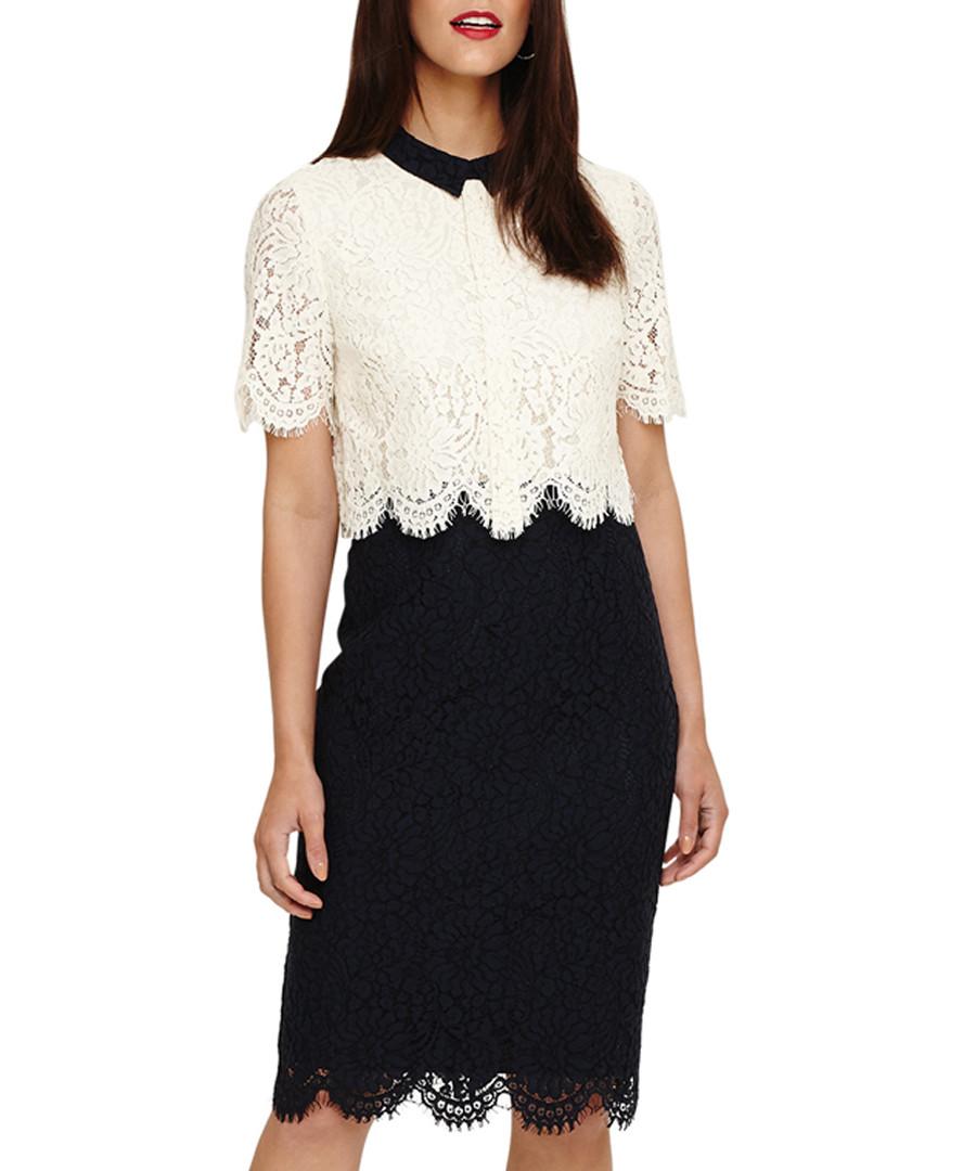 Mandy navy & cream layered lace dress Sale - phase eight