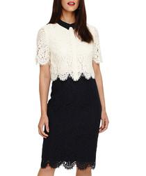 Mandy navy & cream layered lace dress