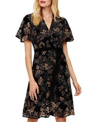 Raquel black velvet soft sleeve dress