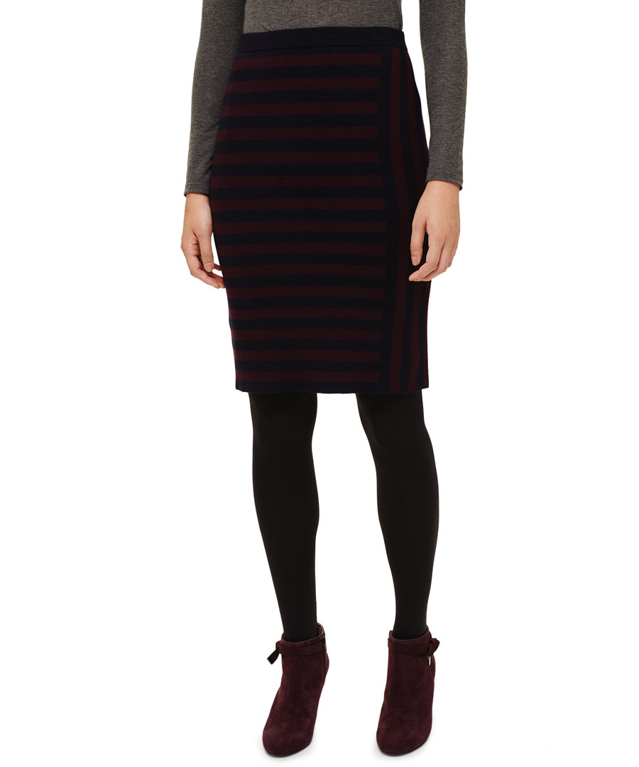 Stacey navy & port stripe skirt Sale - phase eight