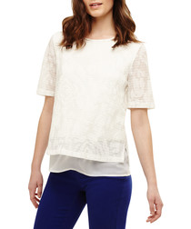 Tam textured ivory double layer top