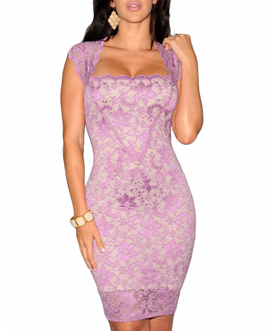 Lavender lace contour dress Sale - flora luna