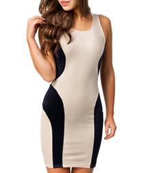 Beige & midnight contour dress
