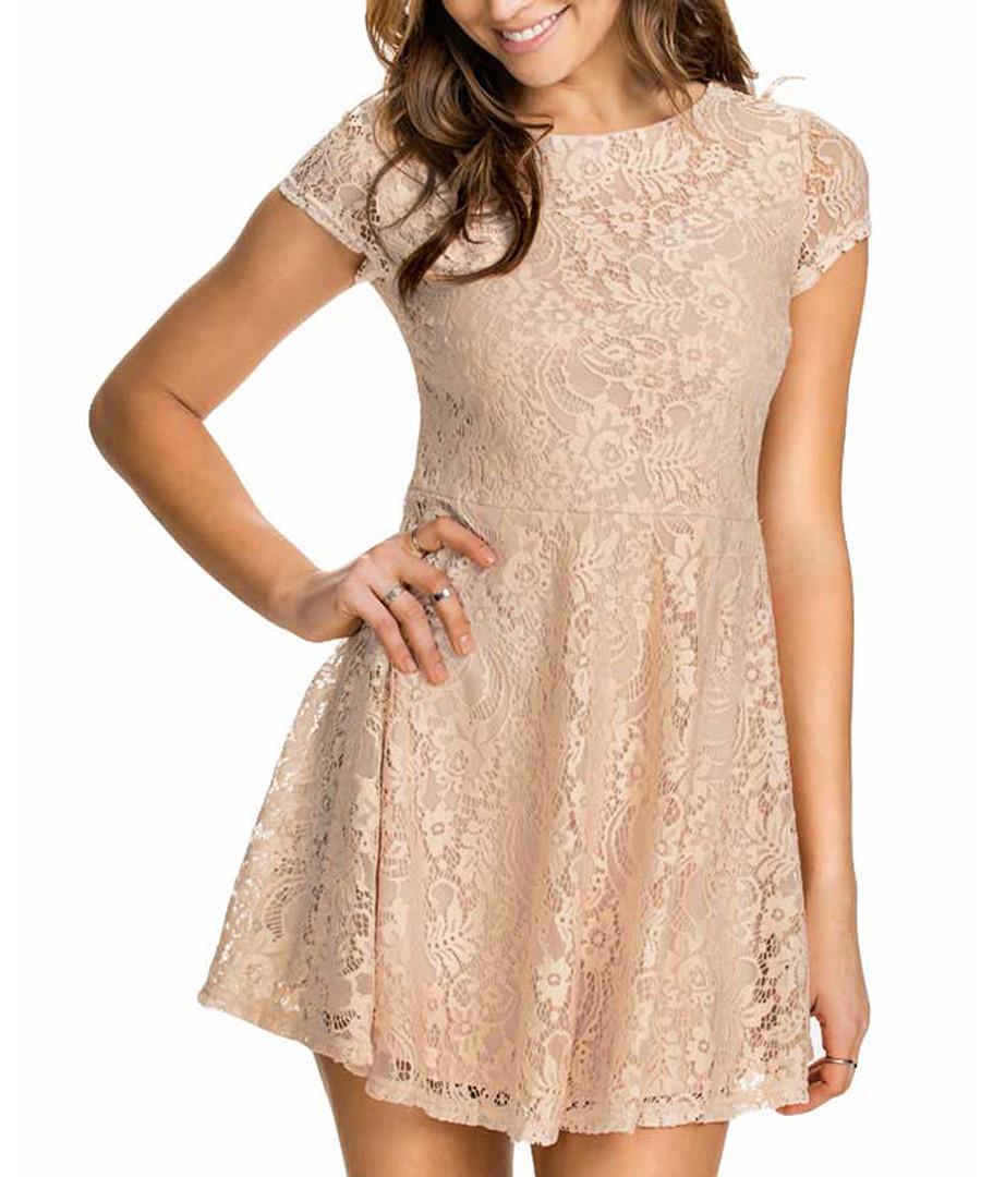 Beige lace cap-sleeve mini dress Sale - flora luna