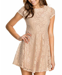 Beige lace cap-sleeve mini dress